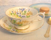 Antique Tea Cup Set Paragon Blue Floral with Gold Fine Bone China Teacup Saucer - Paragon England By Appointment | Gift for Her Tea Party