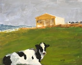 "Cow painting, original animal art, 8x10"" acrylic painting, acrylic on gessobord, art and collectibles, wall candy, modern impressionist"