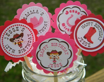 Personalized Cowgirl Birthday Cupcake Toppers  - Western Cupcake Toppers - Cowgirl Cupcake Toppers - Cowgirl Birthday - Horse Favors
