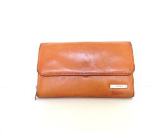vintage camel brown leather wallet, women's leather wallet