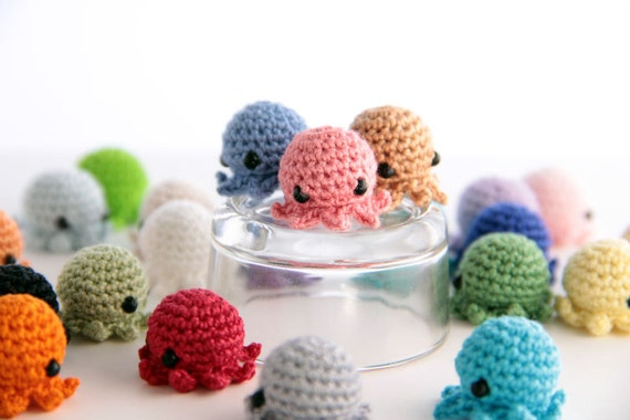 5 PIECE SET: MiniPus (Solid Colors) - Miniature Octopus Amigurumi Doll Plush with Optional Key Chain or Phone Charm Attachment