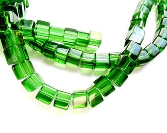 70 Green Cube Loose Glass Beads - 26-3