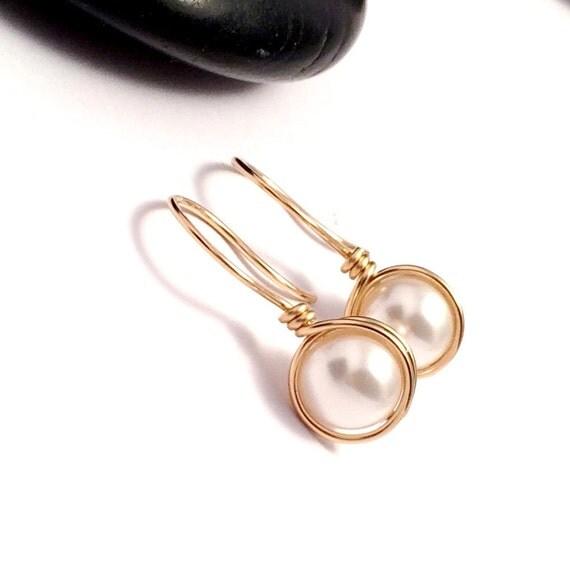 pearl earrings gold filled ivory pearl drop by kiandesigns