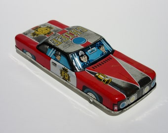 Vintage Fire Department Chief's Tin Toy Friction Car with Firefighters Bright Colors and Great Graphics Chippy Paint Made in Japan
