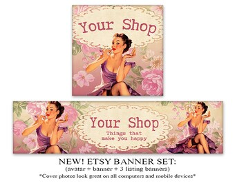 NEW Etsy cover Etsy banner set Vintage pinup banner avatar 1200x300 500x500 Retro banner