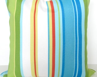Blue Outdoor Pillows Turquoise Pillow Covers Aqua Outdoor Pillows Coral Pillows Blue Outdoor pillow covers Green Striped Pillows 18 20x20