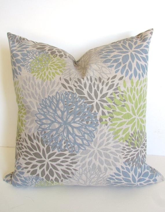 PILLOWS Blue Pillows Gray Throw Pillow Covers Lime Throw