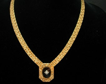 Victorian Onyx necklace Black center with faux diamond Ornate wide nugget like chain Onyx Fine Jewelry