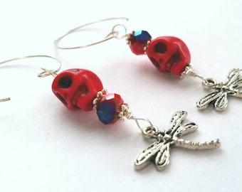 Skulls and Dragonflies Earrings
