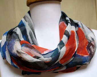 Silk scarf handpainted Chiffon, Made in the Hudson Valley, unique gift woman wife mom, one of a kind art to wear