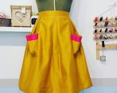 Mustard yellow skirt from vintage fabric. Plus size UK 20 us 16. Fabulous party skirt, evening or cocktails.