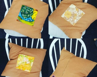 Set of 3 mustard yellow tweed cushion pillow covers with contrast pocket. Vintage fabric zip back 45cm square.