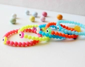 Neon Tassel Bracelet, Neon Green Bracelet, Evil Eye Bracelet,Green Elastic Bracelet,Mini Tassel Bracelet,Hippie Elastic bangle,Boho Bracelet