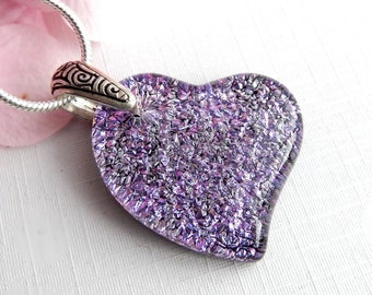 Purple Heart Dichroic Glass Pendant - Fused Glass Jewelry - Mauve Art Glass Necklace