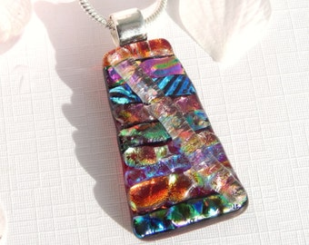 Mixed Dichroic Glass Pendant - Fused Glass Jewelry, Vivid Multicolored Glass Necklace