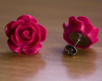 Large Red Rose Post Earrings