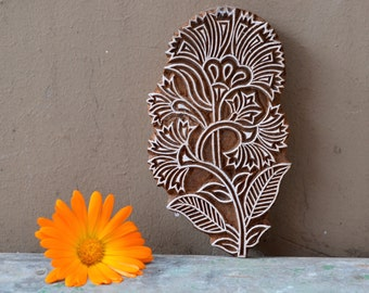 Flower Wood block stamp Indian textile fabric print hand carved traditional Henna wooden stencil