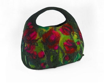 Designer Bag Felted Bag Nunofelt Handbag Rose Purse wild Felt Nuno felt Silk fairy floral fantasy shoulder bag Fiber Art boho