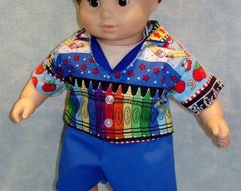 15 Inch Doll Clothes - Back to School Shirt and Shorts handmade by Jane Ellen to fit 15 inch baby dolls