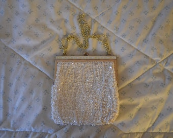 Beautiful White Vintage Evening Bag with Sequins and Pearls