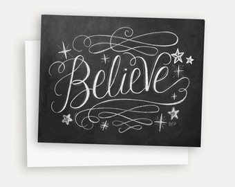 Elegant Christmas Card - Believe Christmas Card - Chalkboard Holiday Note Card - Hand Lettered Chalk Art