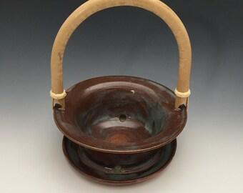 Handmade flower pot with bamboo handle