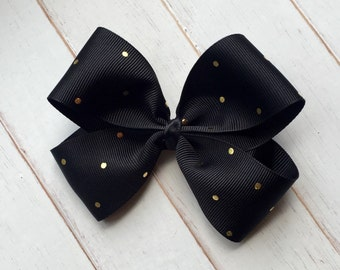 Black with gold polka dot Boutique Hairbow clip