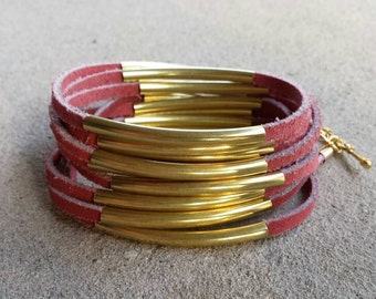 Genuine Distressed Red Suede Multistrand Wrap Around Bracelet with Gold Curved Tube Beads and Toggle Clasp