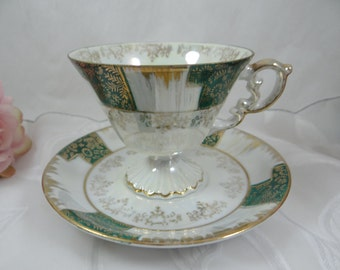1930s Vintage Green Lusterware Irridescent Footed Teacup and Saucer Japanese Tea Cup
