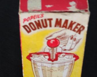 blue plastic donut maker original box Popeil Brothers Chicago
