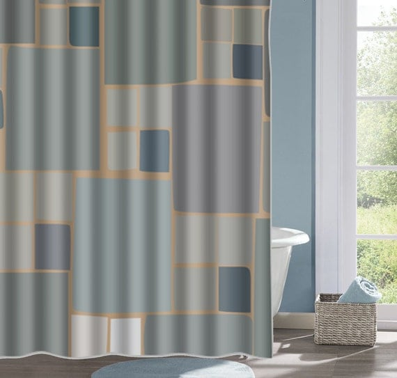 Earthtone Stone Design Bathroom Shower Curtain Stone Bath