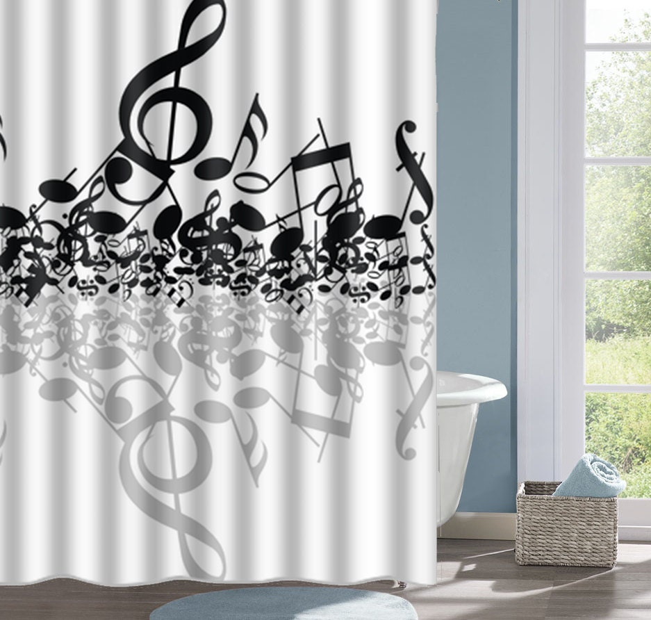 Music Notes Shower Curtain Music Bath Curtain Musical Notes