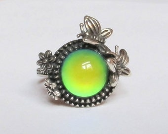 Mood Ring Sterling Silver 925  - 10 mm - adjustable - butterly - flower - color changing - liquid crystal