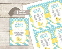 """Diaper Raffle Inserts: Baby Duck Design - 4 (3.5"""" x 5"""") Cards on an 8.5"""" x 11"""" Template - Digital File"""
