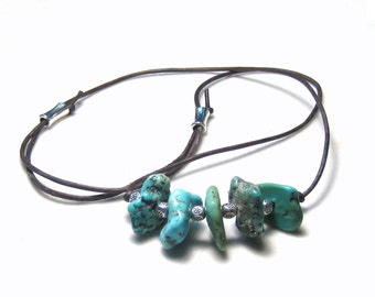 Arizona Turquoise Nugget Leather Necklace Layering Necklace Bohemian Jewelry