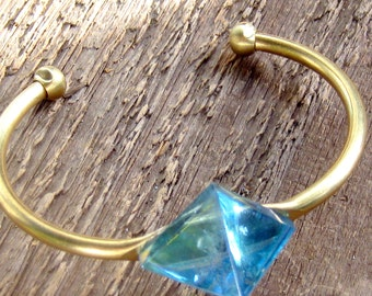 Aqua Aura Pyramid Cuff Bracelet, Crystal Bracelet, Quartz Bracelet, Boho Bracelet