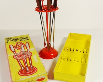 Vintage Fondue Forks on Stand - Set of 6