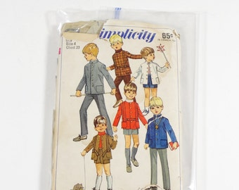 1968 Simplicity 7883 - Boys Jacket and Pants in Two Lengths - Boys Size 4 - 1968 Vintage Pattern - 1960s Boys Pattern
