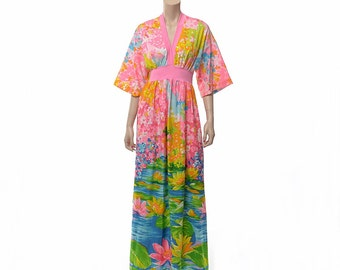 Vintage 60s 70s Neon Floral Lounge Dress 1960s 1970s Olgawear Impressionist Art Loungewear Loungees Hostess Olga Wear Gown