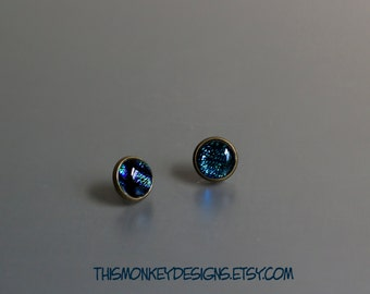 Blue Caverns dichroic glass and bronze studs / stud / earrings / handmade / jewelry / etsy / wearable art / gifts for women / female artist