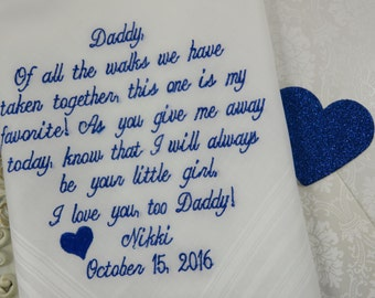 Weddings-Father Of The Bride Handkerchief-Hanky-Hankerchief-Embroidered-FAVORITE WALK With MOTIF-Gift for Father Of The Bride-Wedding-Favors