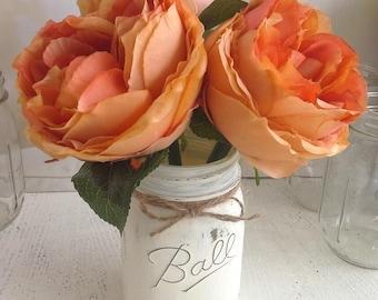 Cottage Chic Peach Tone Peony Flower Pens with Mason Jar Vase