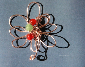 Flower pendant, rose gold, green and orange agates, original handmade, wire wrapped wire, gift under 20, GBT200