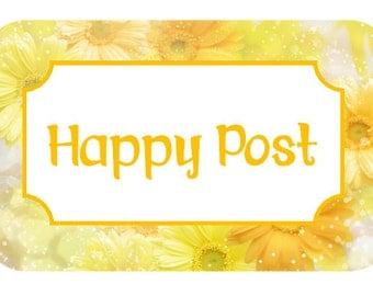 happy post stickers - yellow gerbera