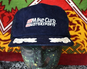 Corduroy Mike Curb MotorsportsTruckers Cap. Corduroy Baseball Snapback Cap With Motorsports Logo Embroidered On Front. Leaves Embroidery