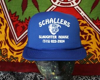 Schallers Slaughter House Blue Trucker Cap. Blue 80s Retro Mesh Snapback Hat.  Vintage Baseball Cap.  Bright Blue Slaughterhouse Clothing