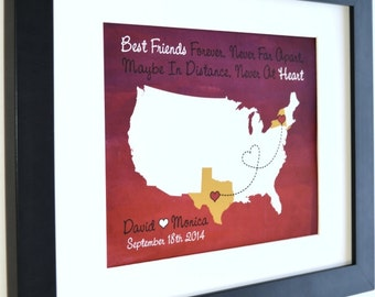Gift for best friend, personalized state distance map, farewell gift for friends forever, birthday gift, friendship quotes, sorority sisters