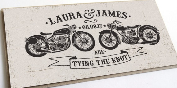 Biker Wedding Invitations: Biker Wedding Invitation Rock & Roll Motor Bikes SAMPLE