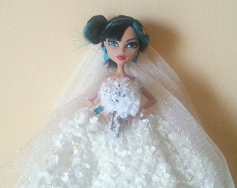 Monster Doll Wedding Dress with Veil, Petticoat, Bouquet and Purse Deluxe Set OOAK