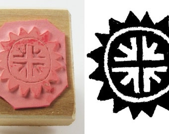 Petroglyph Sun Cross Design Stamp Tool - Petroglyph Sun Stamp Tool for PMC - Ceramic Clay - Polymer Clay - Scrapbooking - Textile Designs